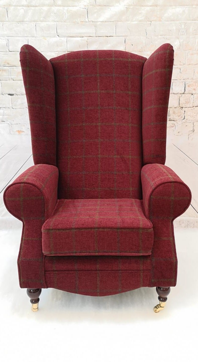 Extra Tall Back Wing Back Armchair Claret Red Lana Check ...