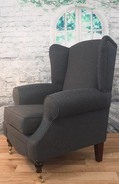 Wing Back Queen Anne Cottage Chair Dark Grey Herringbone