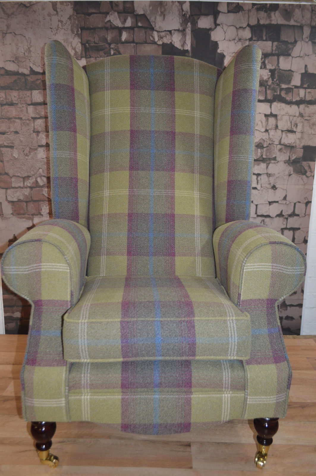 Wing Back Fireside Queen Anne Chair Extra Tall High Back