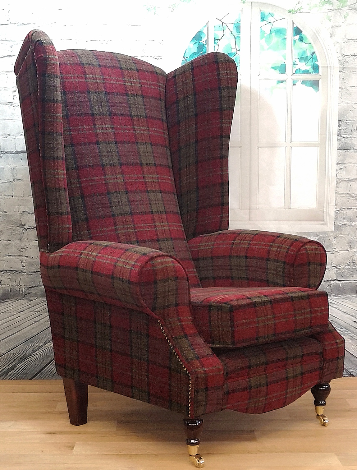 Wing Back Queen Anne Fireside Extra Tall High Back Chair